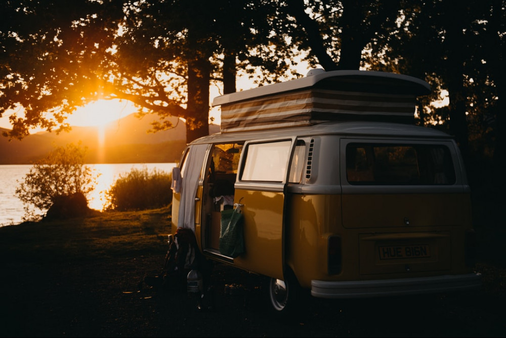 Campervan by a lake