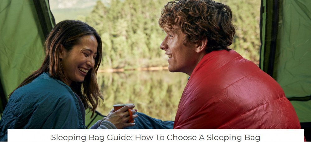 Couple in tent with sleeping bags