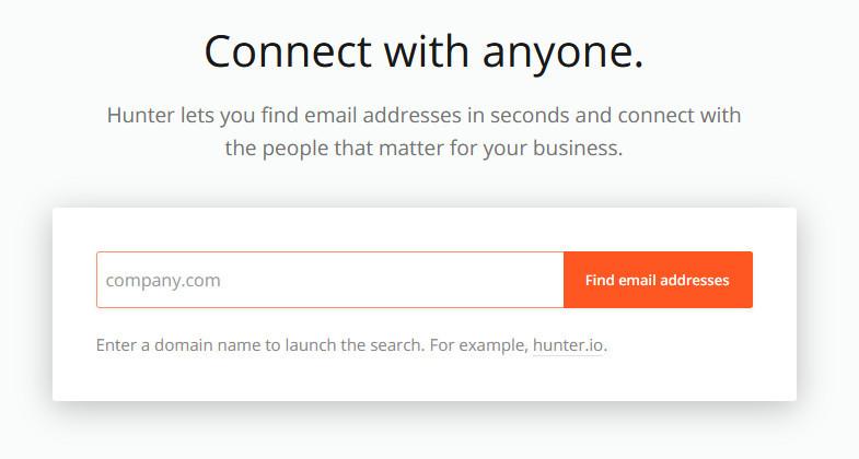 Hunter.io email address finder