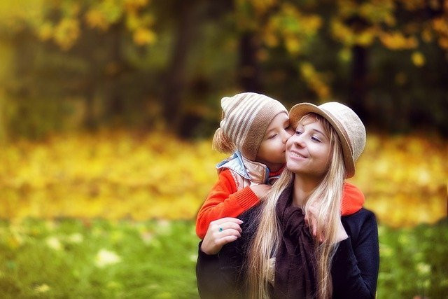 Mom and child in nature