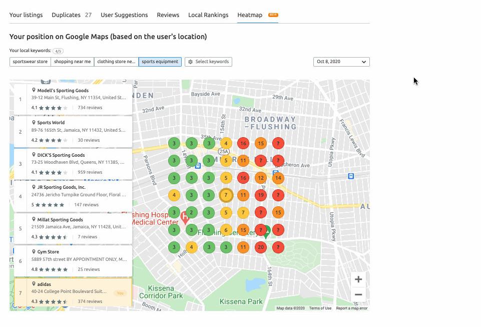 Semrush local listing tool
