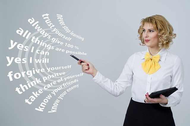 Woman with positive slogans
