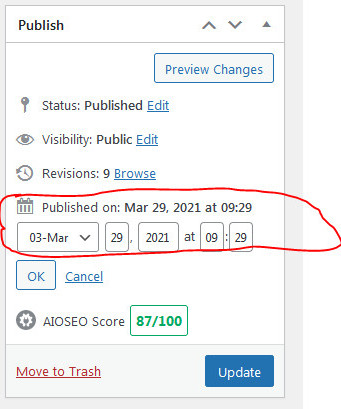 how to change the date of a post in WordPress